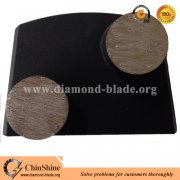 Diamond floor trapezoid concrete grinding shoe with two round segment