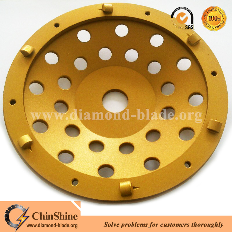 Quarter round PCD grinding cup wheel for floor surface preparation