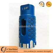 Laser welding dry diamond core drill bits with protect teeth for granite marble