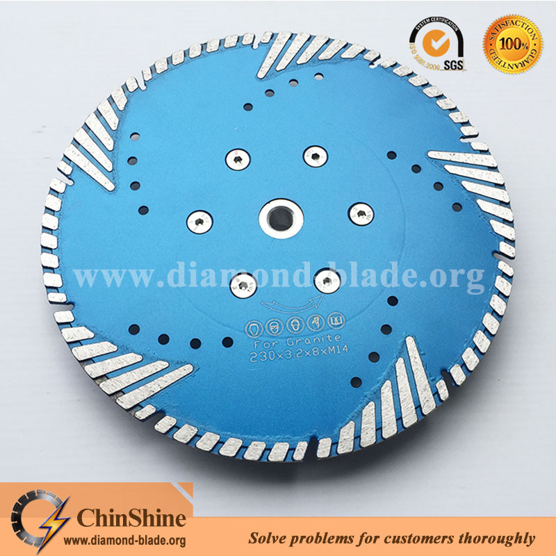 sintered turbo diamond granite dry cutting disc with protect teeth