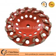 "China 7"" S shape turbo diamond grinding cup wheel for floor concrete"