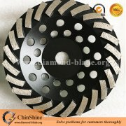 Top quality brazed 7 inch turbo diamond concrete floor grinding cup wheel