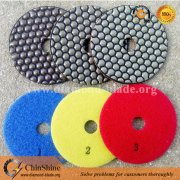 Hexagon 3 step diamond dry resin polishing pads for natural stone